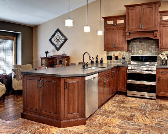 Wall color with cherry cabnets cherry kitchen cabinets for Cherry kitchen cabinets wall color