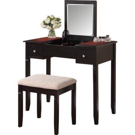 Linon Home Decor Products Camden Vanity Set, Black Cherry Camden