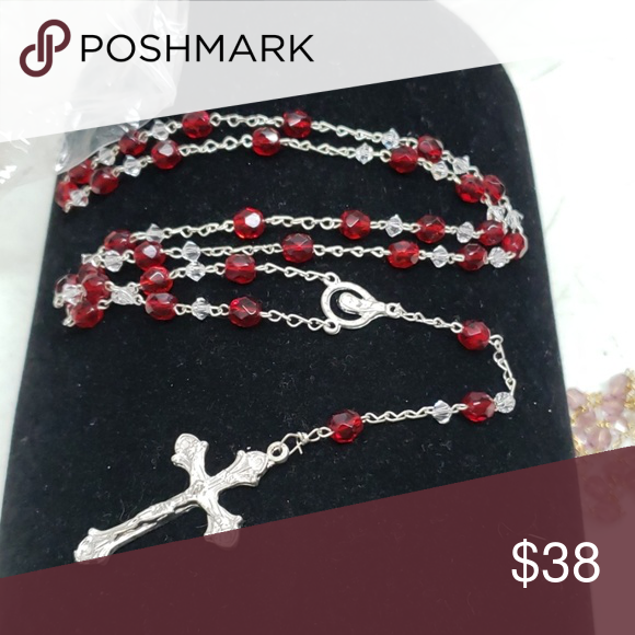 New Ruby colored rosary New Ruby colored rosary  Silvertone Jewelry Necklaces #rosaryjewelry