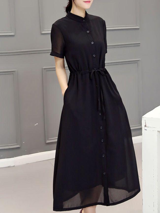 9c5b3433eb62 Band Collar Drawstring Single Breasted Pocket Plain Chiffon Maxi Dress -  berrylook.com