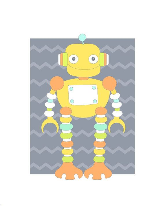 Robot art boys room decor digital art kids by KristinParsons ...