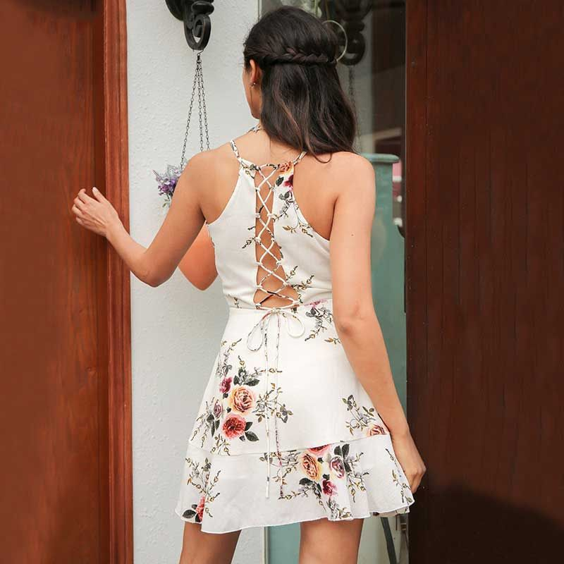 5843c737fb2 A-line floral cute summer dress for women Deep V neck backless dress  bandage Sexy casual party dress