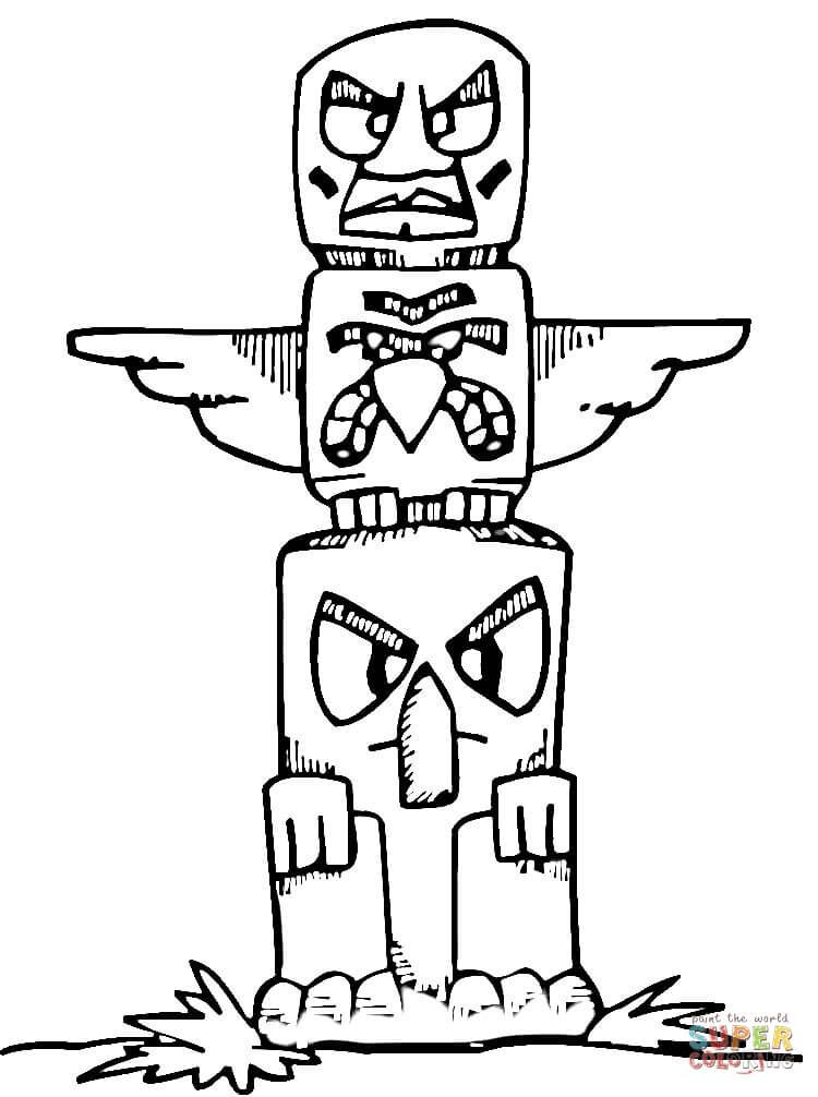 Messico Totem Pole Coloring Pages Totem Pole Craft Printables