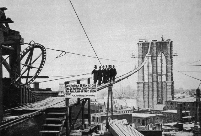 The Impossible Accomplished: Building the Brooklyn Bridge: The Brooklyn Bridge during its construction.