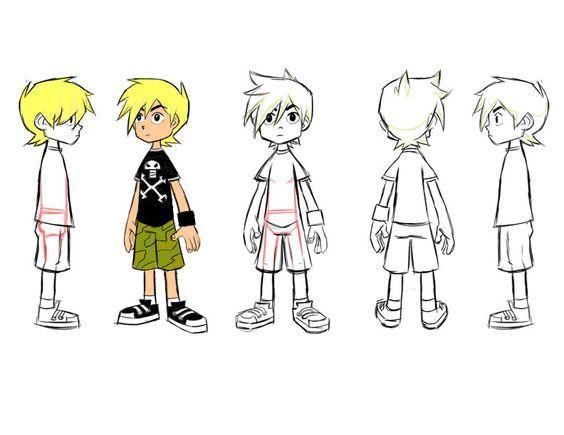 Character Design Reference Sheet : Karakter pozları Çocuk character pose turn