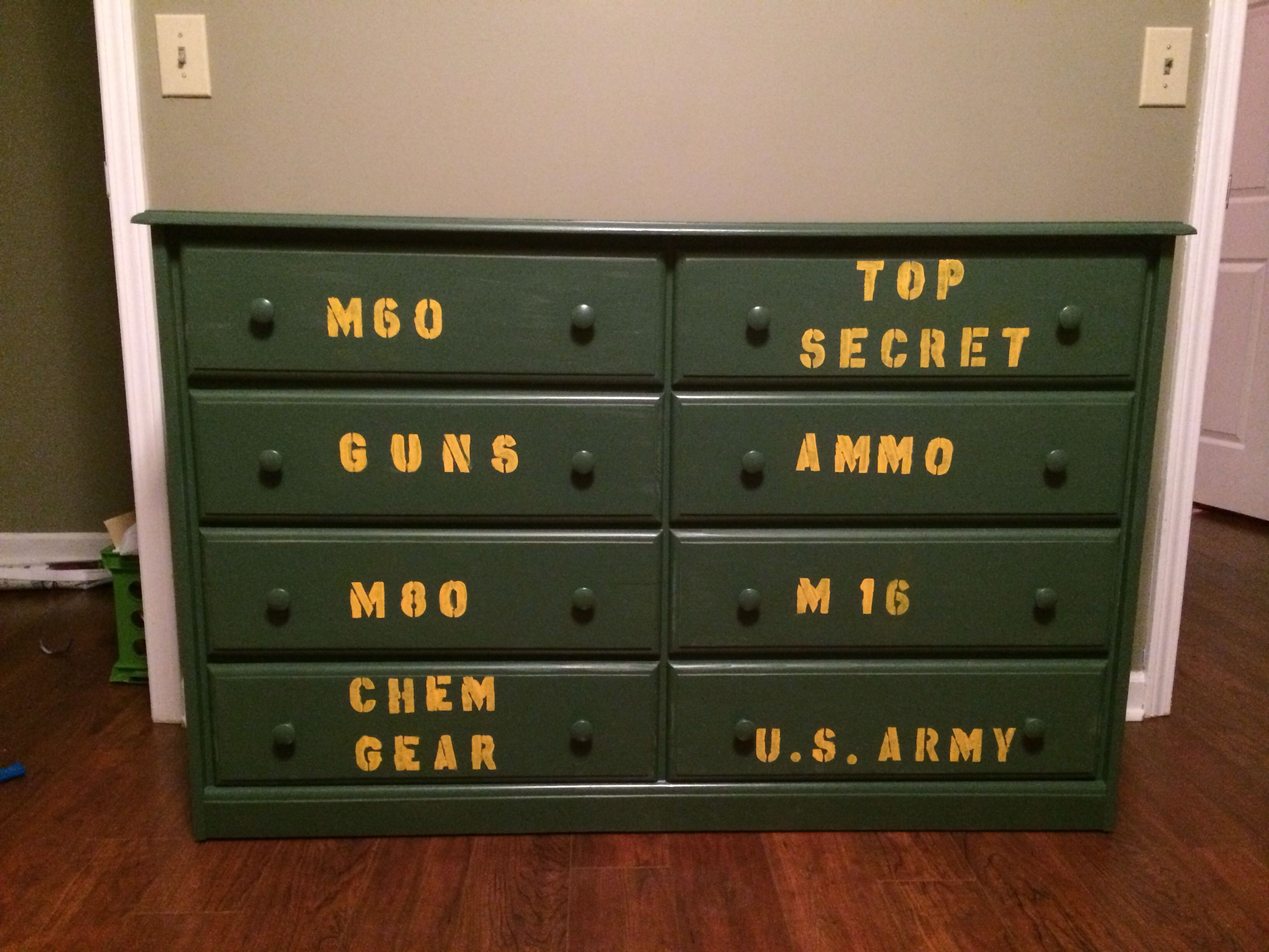 The Dresser We Painted For Boys New Army Room