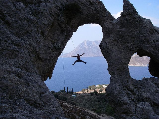 Rock #Climbing in Greece ( Kalymnos island)   Place: Kalymnos Sector: Palace  Route: The Roof is on Fire Difficulty: 7a+
