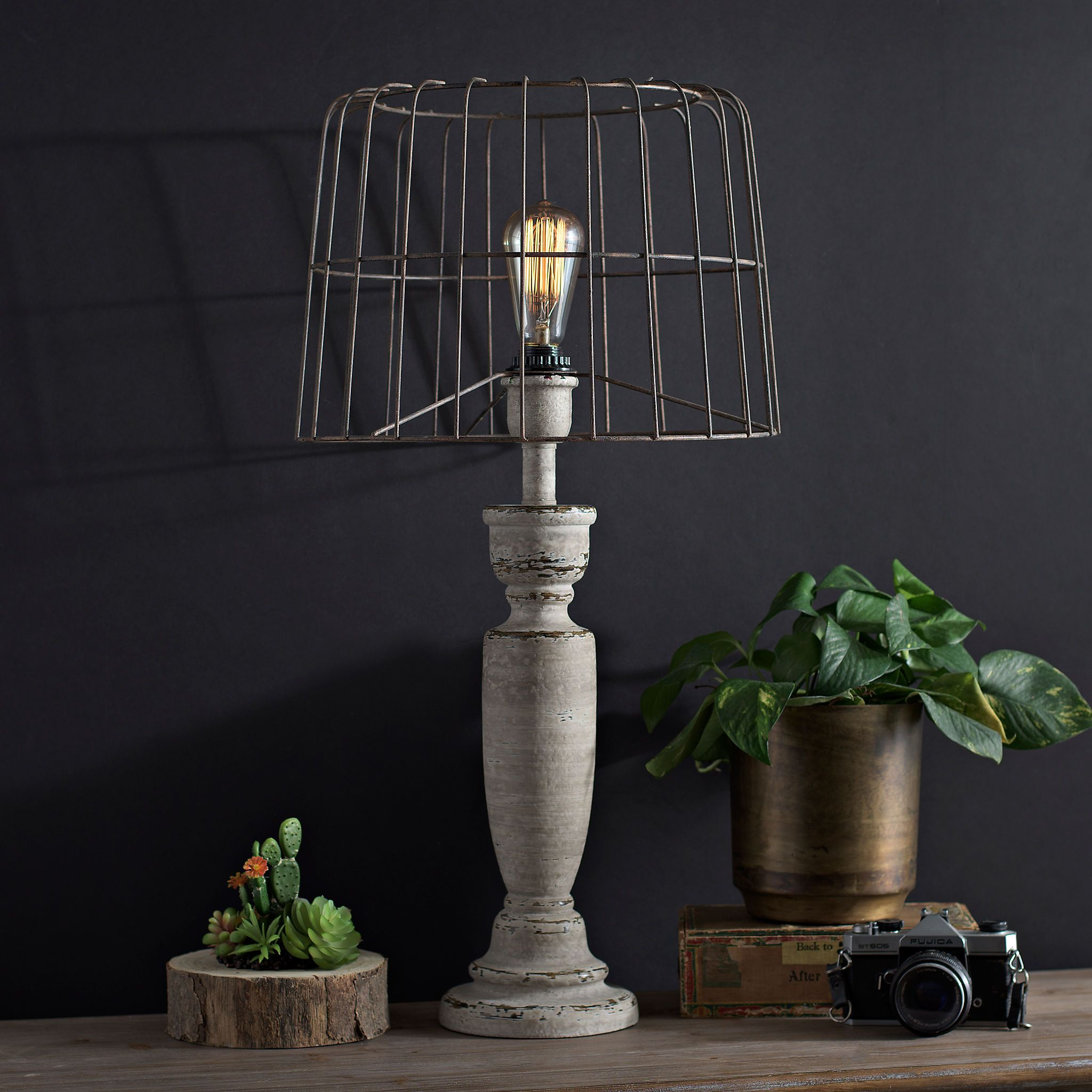 Karli Cream Edison Bulb Table Lamp