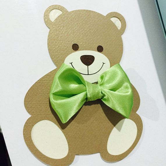 Teddy bear Invitation  bear Invitation  bow tie by PinkArrowStudio