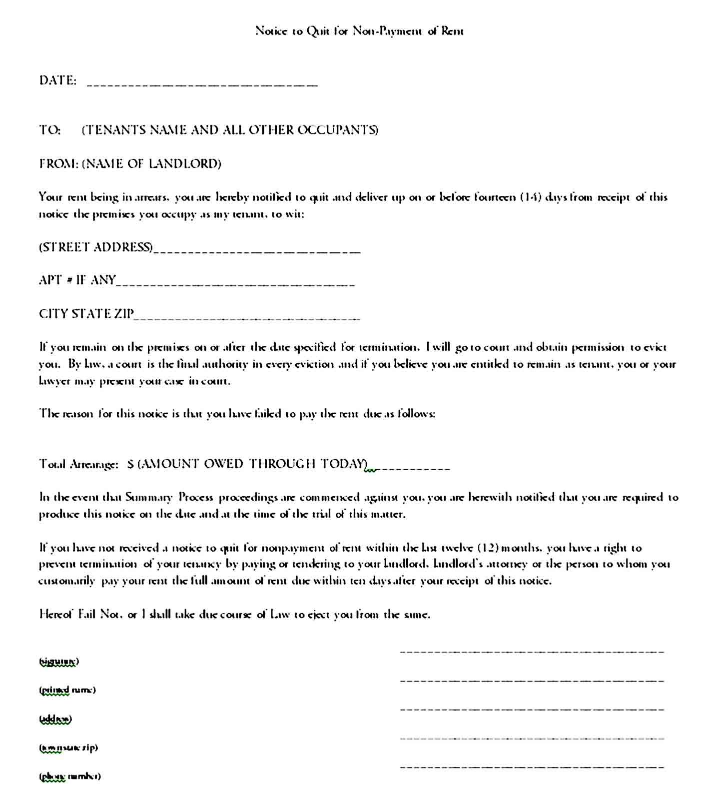 Eviction Notice Template Sample Being A Landlord Eviction Notice Templates