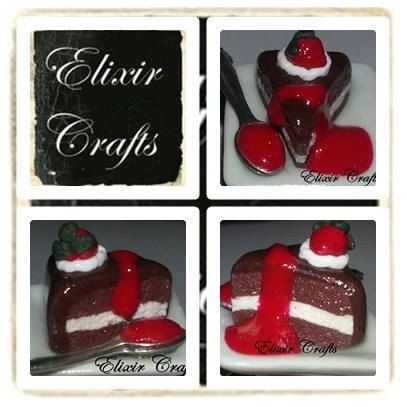 Chocolate Cake on Plate Ring Valentine gift by ElixirCrafts