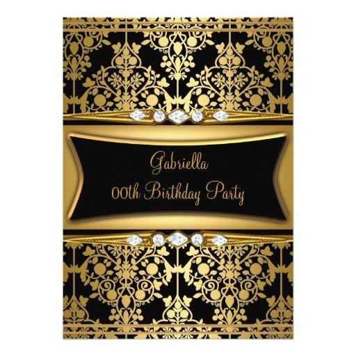 "black damask gold diamond birthday party "" x "" invitation card, invitation samples"