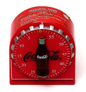 Coca Cola Coke Magnet Kitchen Timer - You'll never lose this 60 minute timer since the magnetic back will hold to any metal surface!