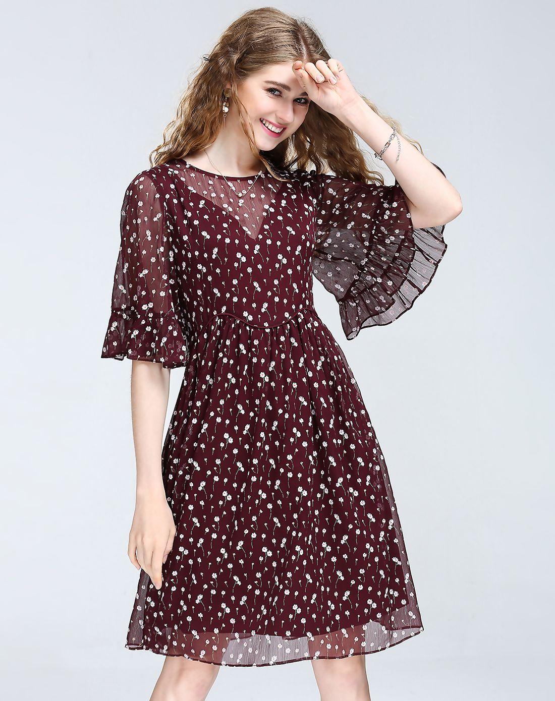 Adorewe vipme aline dressesdesigner kk wine chiffon floral