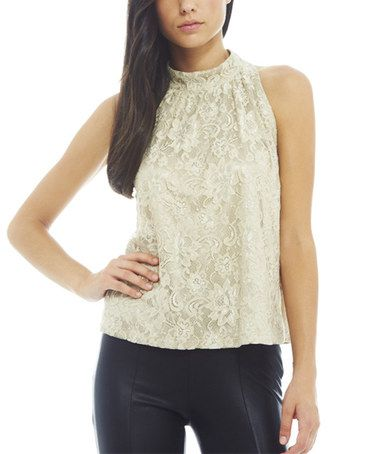 Champagne Lace Mock Neck Top by AX Paris #zulily #zulilyfinds
