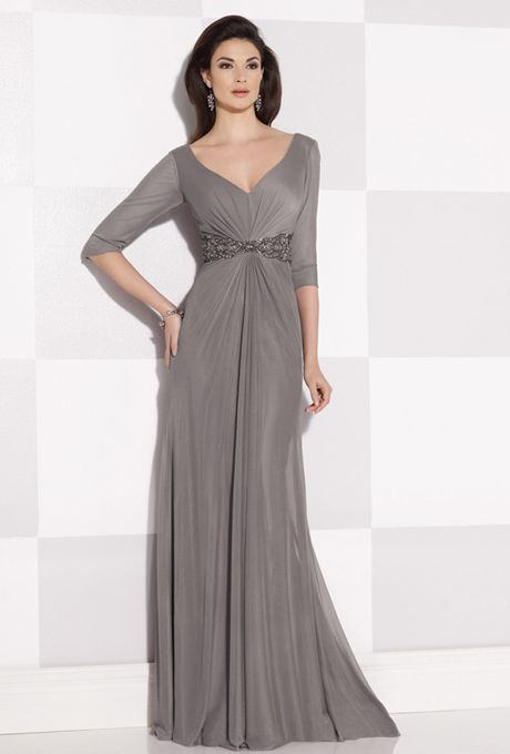 Brides: Cameron Blake. Stretch mesh A-line dress features elbow ...