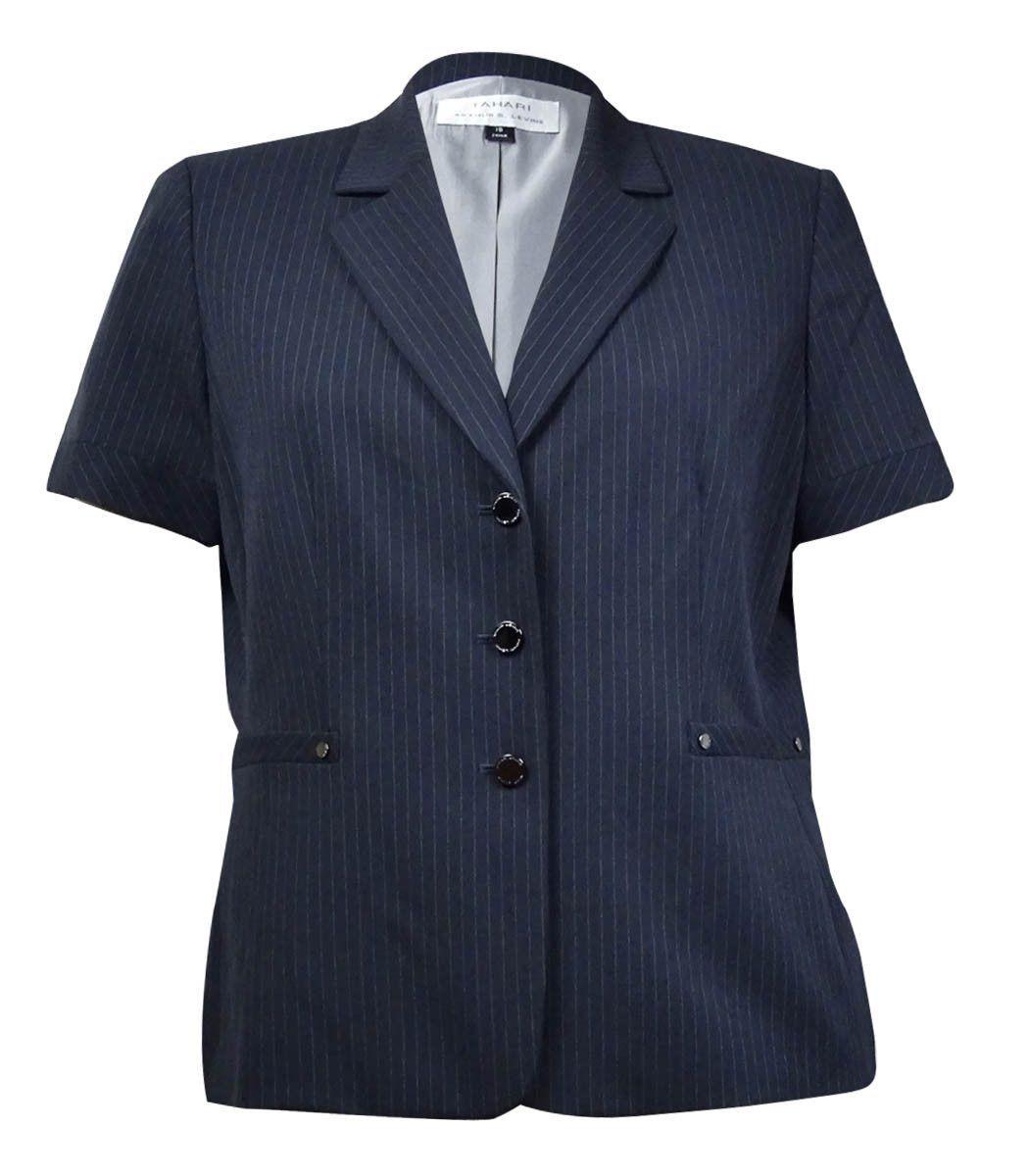 Tahari Women's Notch Pinstriped Short Sleeves Blazer