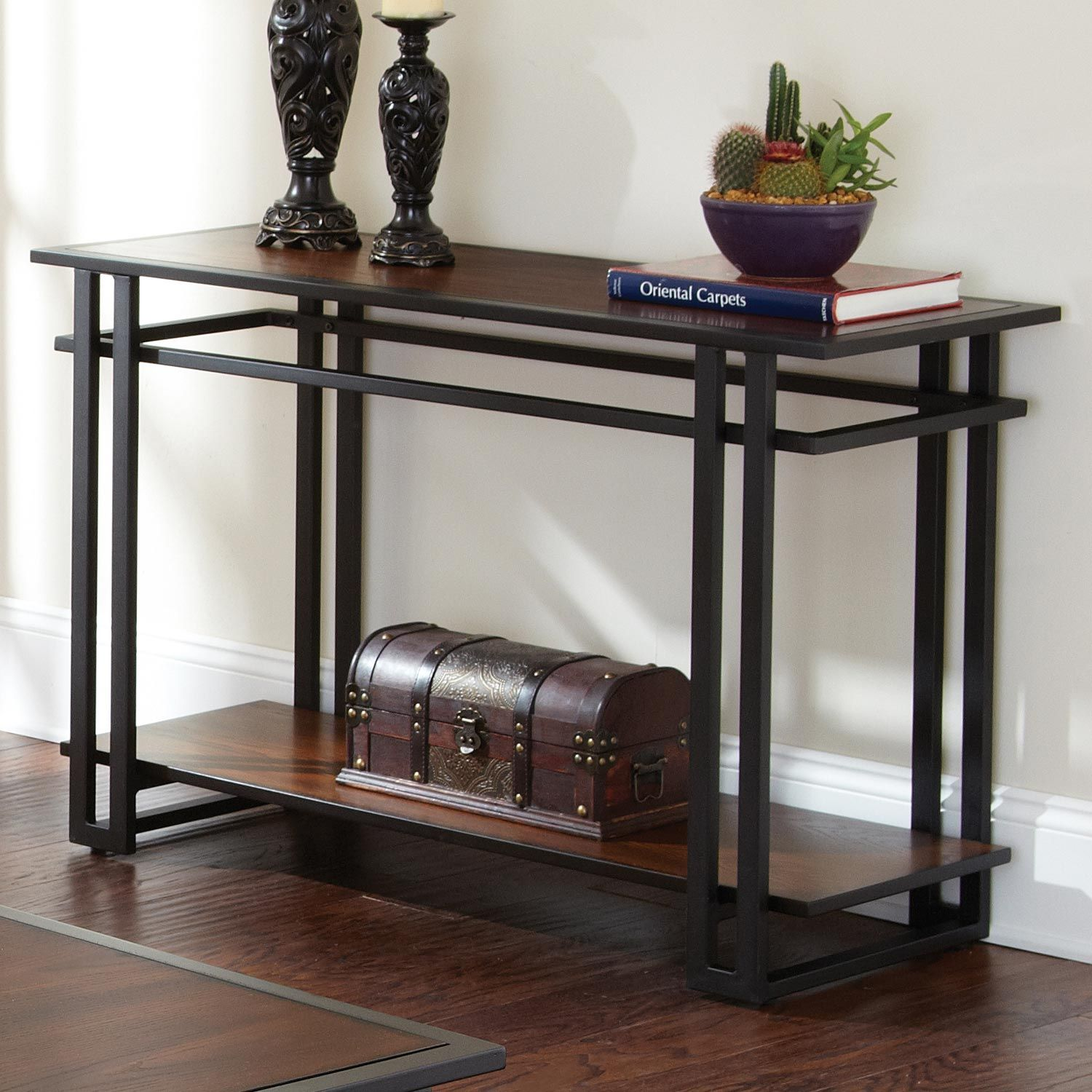 Micah Console Table Cherry Wood Black Metal Metal Sofa Sofa Table Black Sofa Table