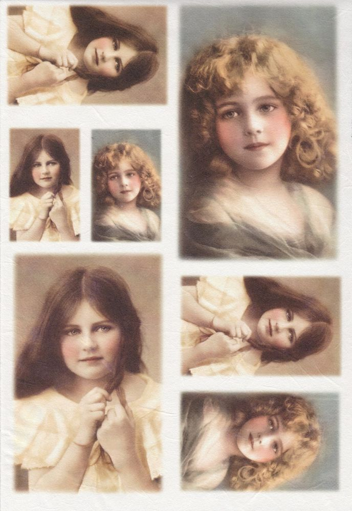 Rice Paper for Decoupage Scrapbooking Sheet Old Pictures Young Ladies Faces