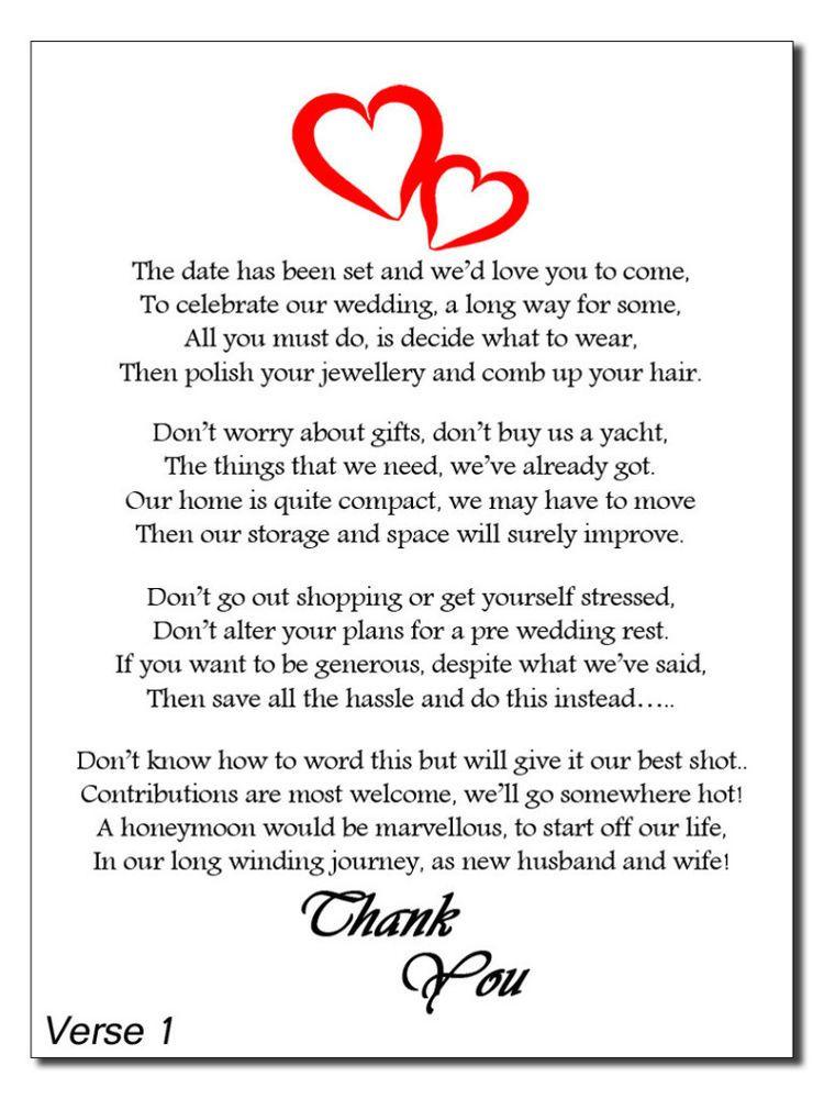 Wedding Cash Money Voucher Request Poems For Invites 4 Verses Red ...