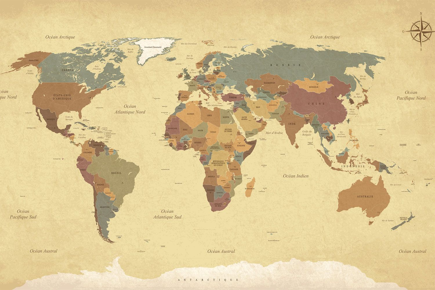 Choose Vintage Map Wallpaper to create fantastic wall decor in your ...