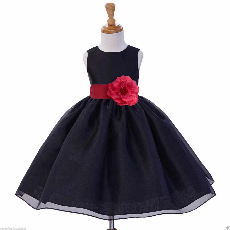 Black flower girl dress sash pageant organza wedding bridal