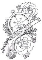 Pistol and roses tattoo,