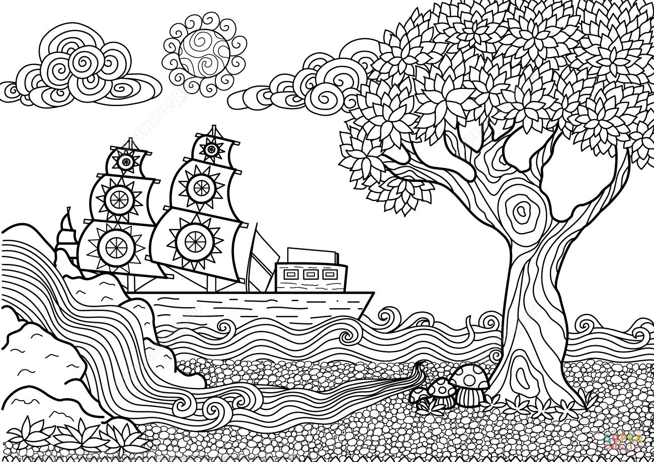 Dibujo de Paisaje Marino Zentangle para colorear | Colorear ...