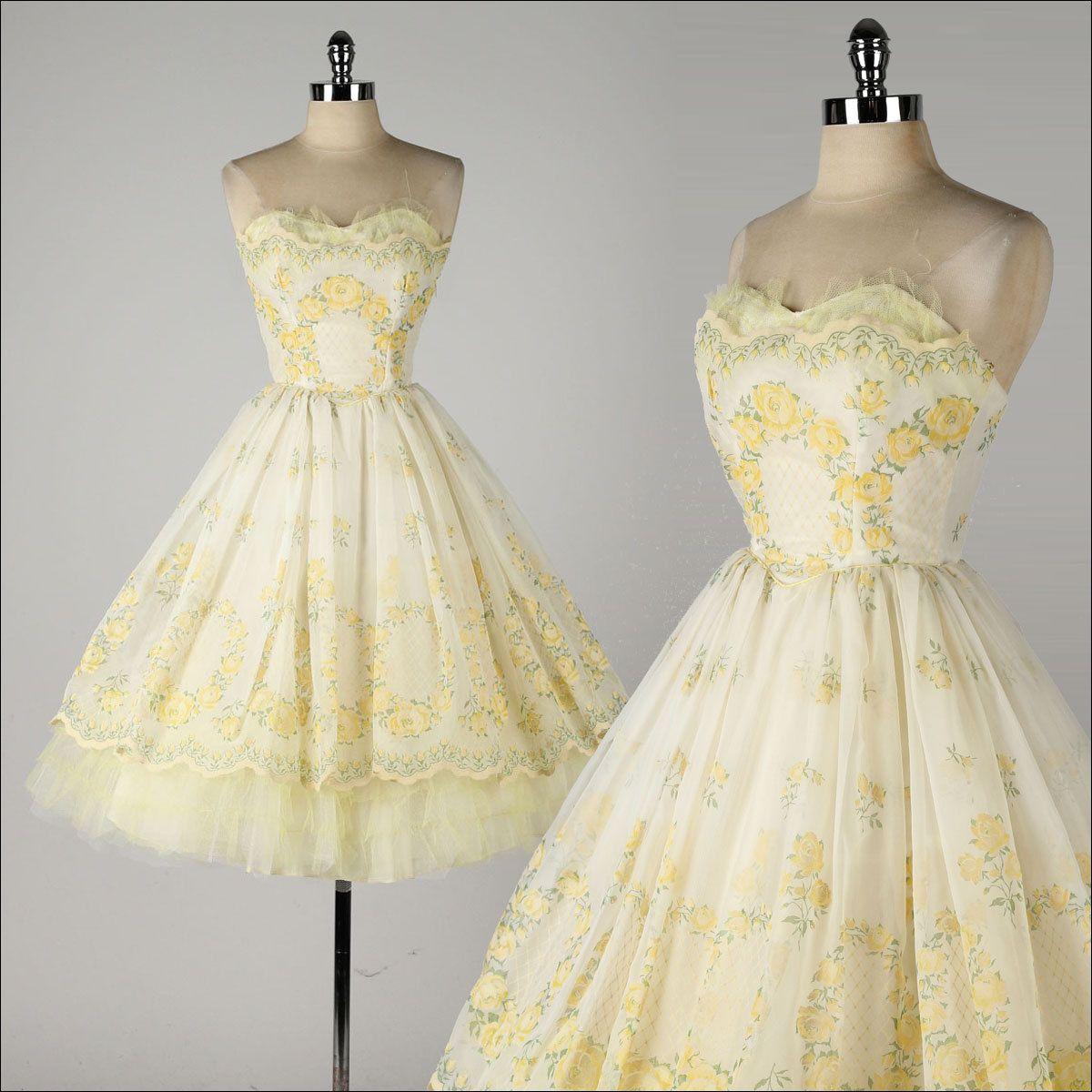 vintage 1950s dress . yellow chiffon . by millstreetvintage