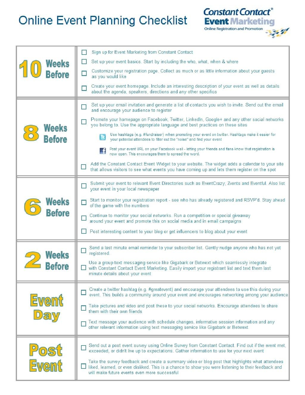 Online Event Planning Checklist By Constant Contact Event Marketing Via Slideshare