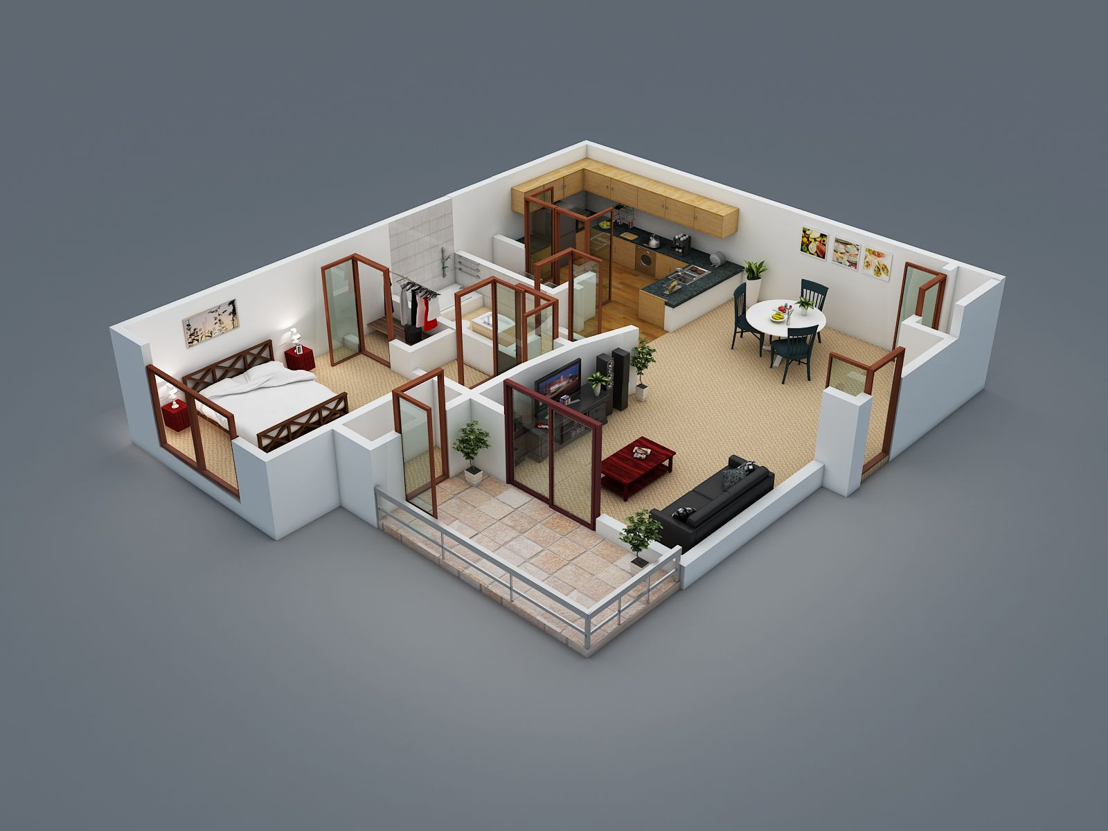3d floor plans wazo communications apa pinterest for Small house plan design 3d