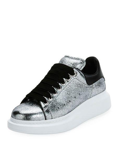 83655806c498 ALEXANDER MCQUEEN Metallic Lace-Up Platform Sneaker