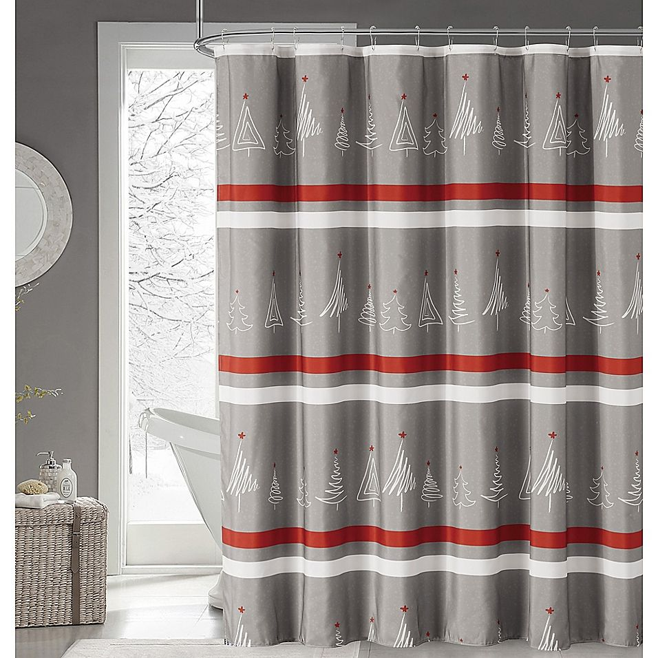 Magical Winter Forest Fabric Shower Curtain In Grey Fabric Shower Curtains Curtains Christmas Bathroom