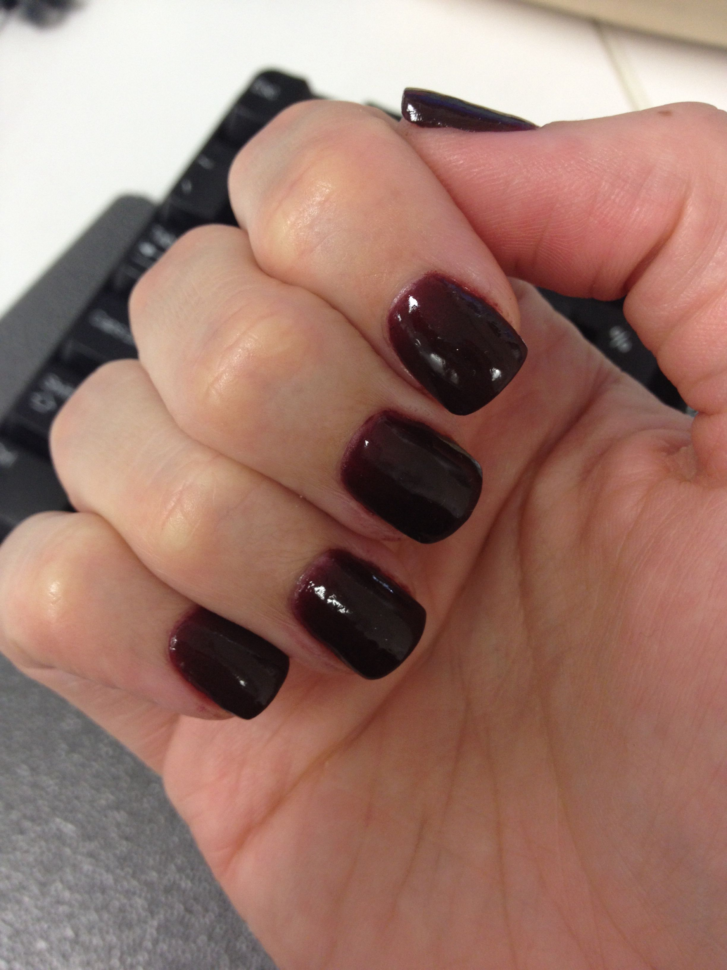 Another Shot Of My New Shorter Sns Nails Really Dark Maroon Colour Love Sns Nails Colors Wow Nails Maroon Nails