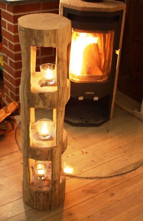 deko holzbalken windlicht laterne stele skulptur holz sauna innendeko rarit t in m bel wohnen. Black Bedroom Furniture Sets. Home Design Ideas
