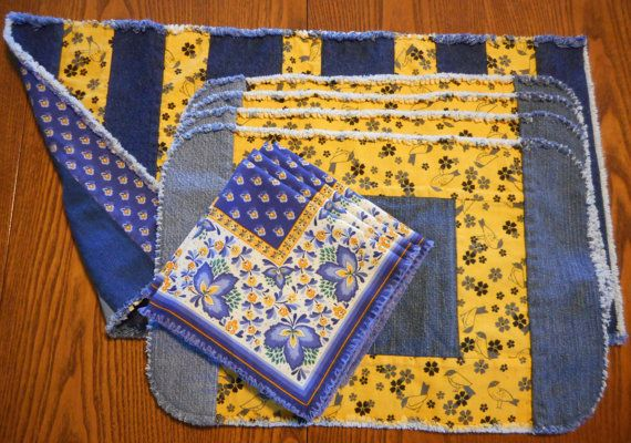 Repurposed Denim Complete Tablescape for Four by RevisionsDesigns