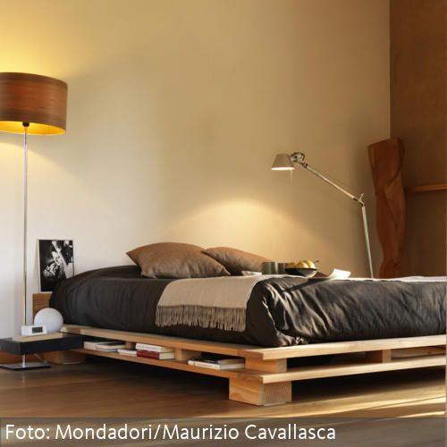 Wohnideen Naturtöne flaches futonbett und naturtöne schlafzimmer