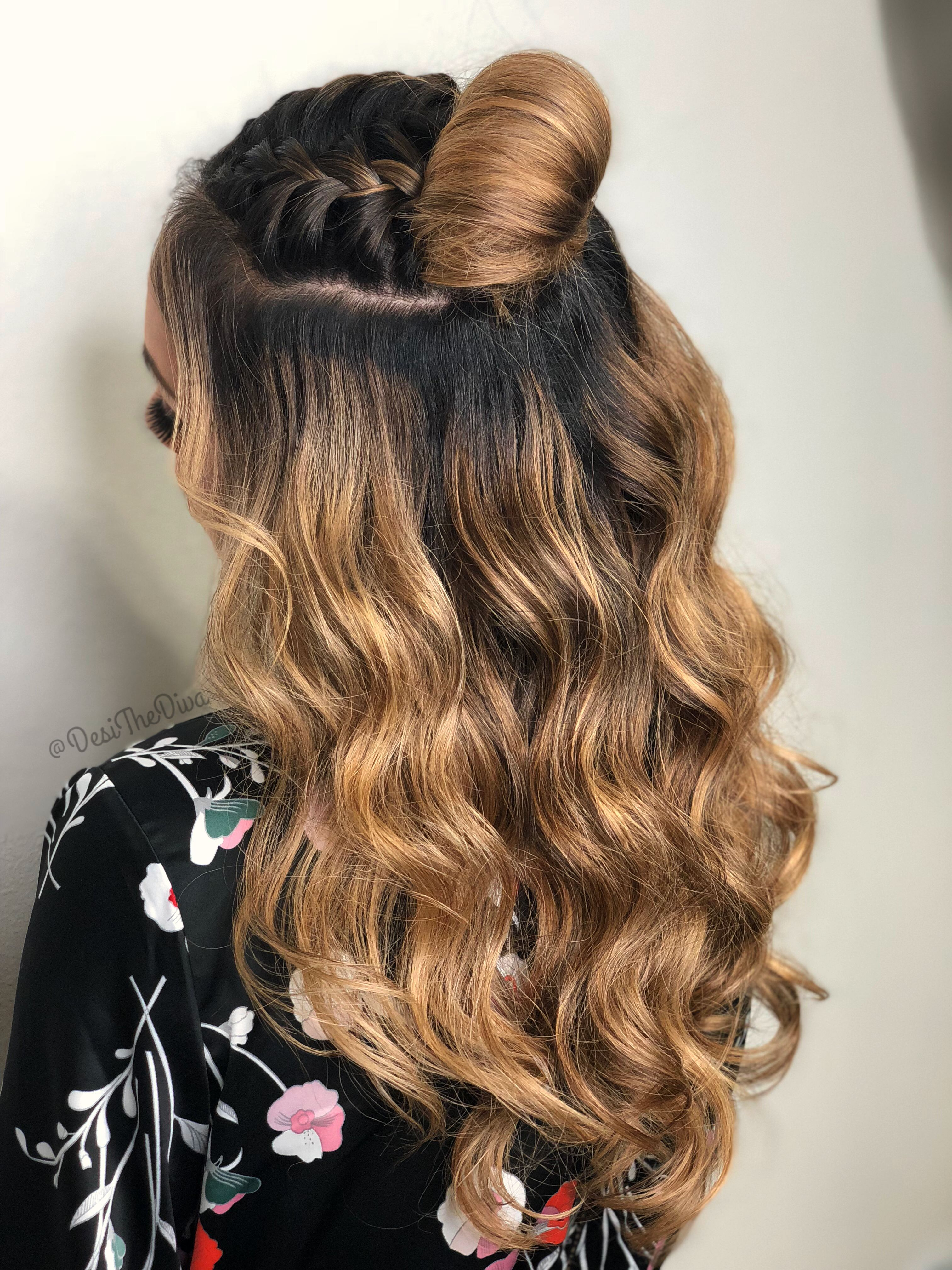 Wavy Top Knot Braided Top Knots Half Up Hair Braided Half Up