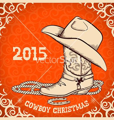 western new year greeting card with cowboy objects vector by geraktv on vectorstock