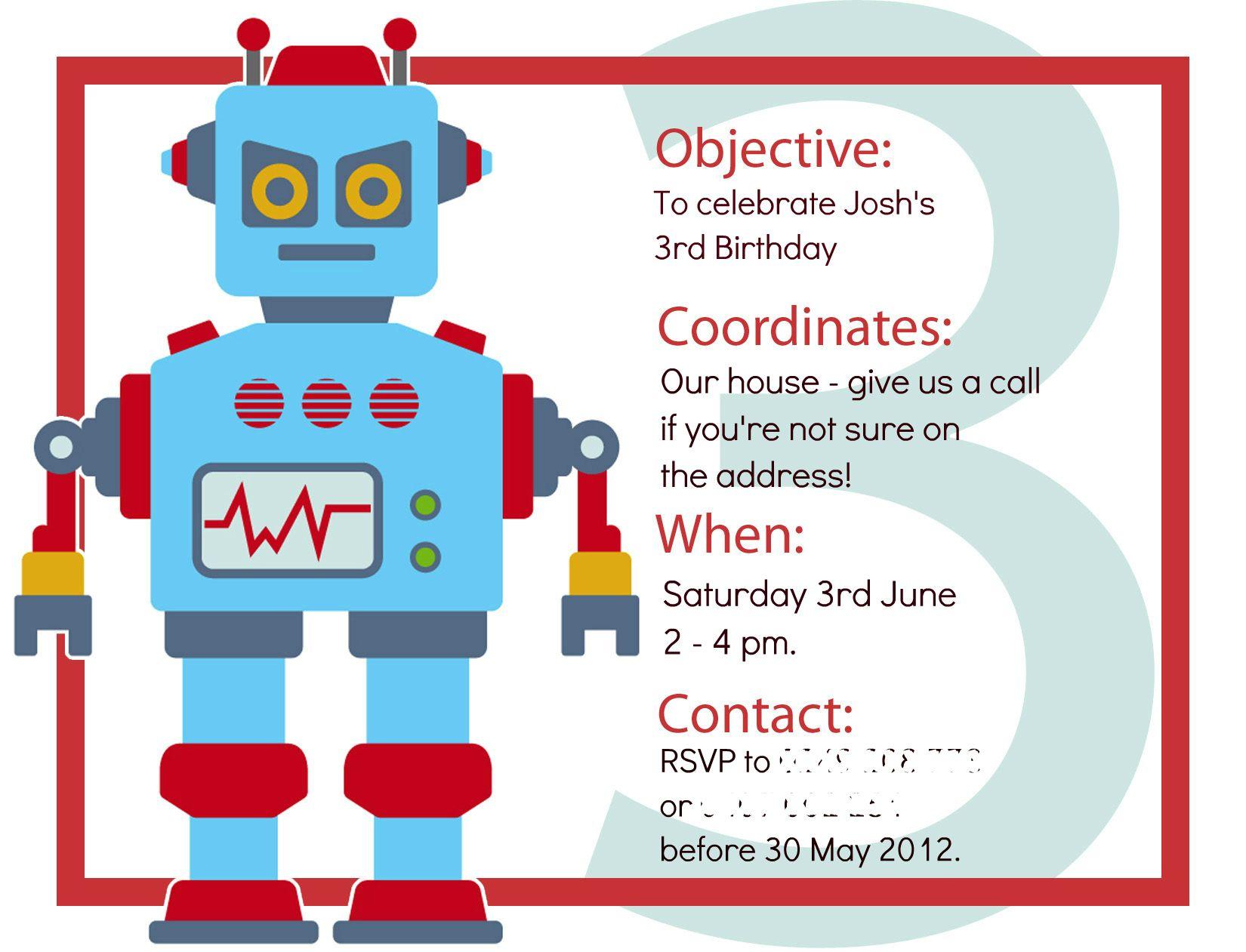INVITATION | Robot Party Ideas | Pinterest