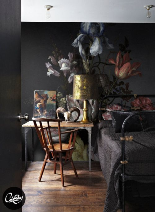 Dutch Dark Vintage Floral Removable Wallpaper   Peel& Stick