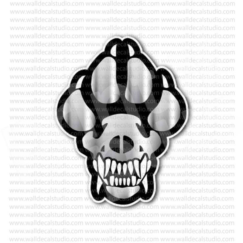 K9 dog paw skull sticker
