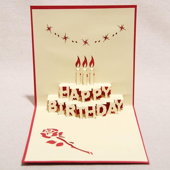 3d Happy Birthday Handmade Creative Kirigami Origami Pop Up