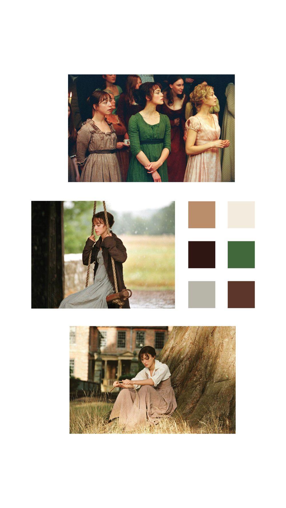 Color Palettes Based on Pride & Prejudice (2005) #prideandprejudice