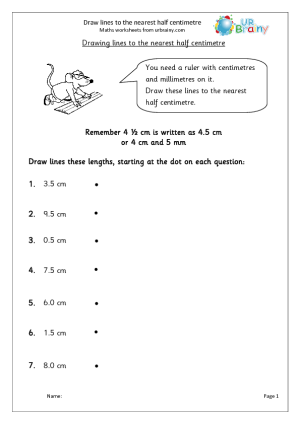 Draw Lines To The Nearest Half Centimetre Measuring And Time Maths Worksheets For Year 3 Age 7 8 Time Worksheets Math Time Measurement Worksheets