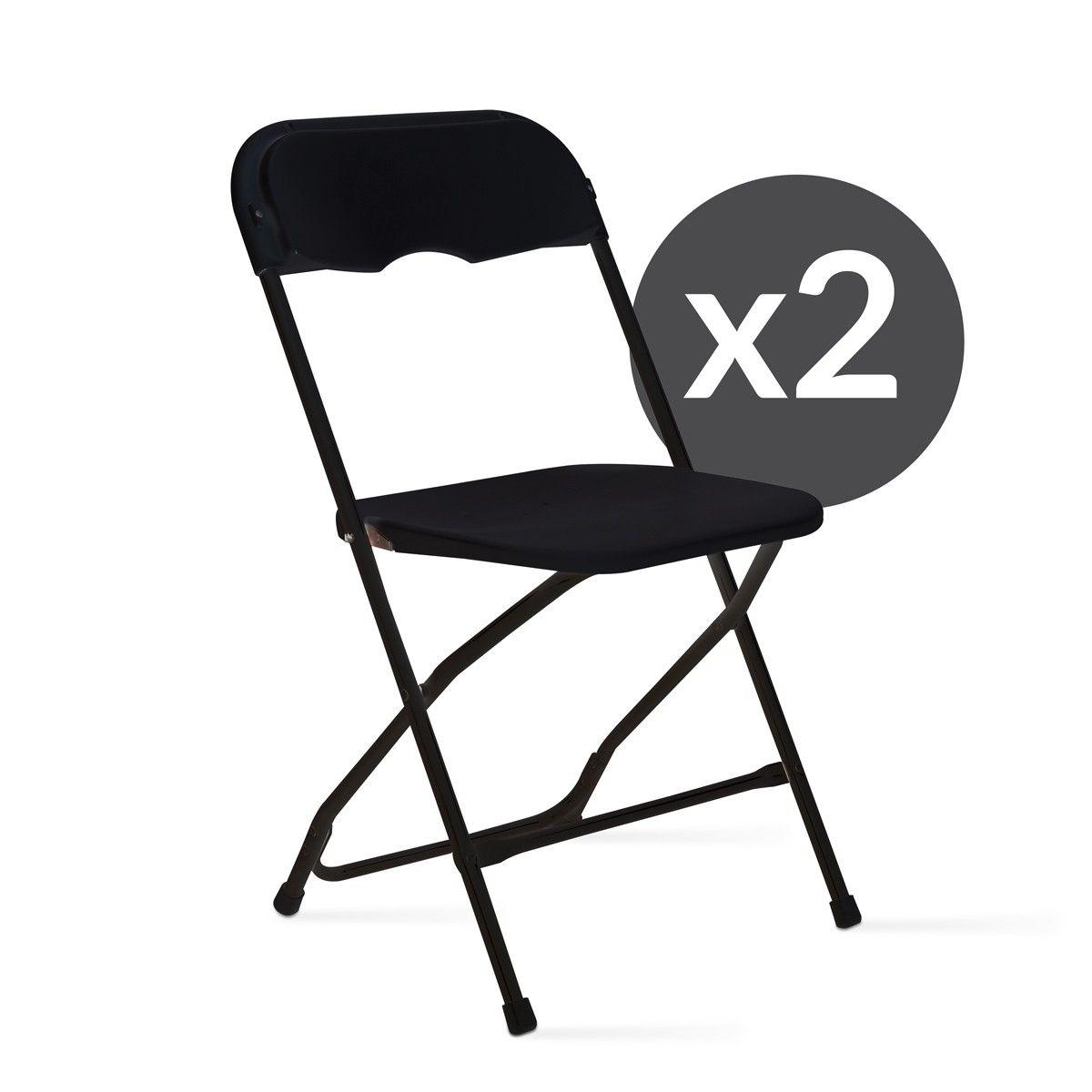 2 chaises pliantes noires de réception | Chaise plastique