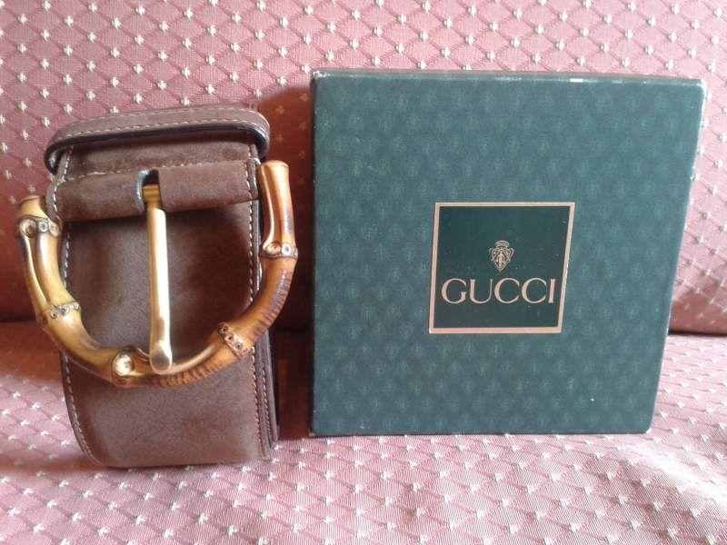 Cintura Gucci Vintage. Fibbia in bambù