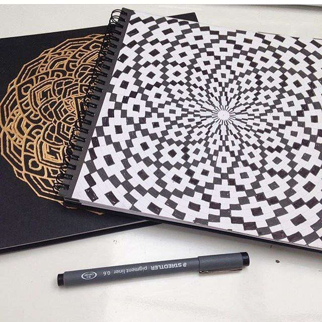 Pen on paper in my mandala sketchbook 48 pages of polar graph - polar graph paper