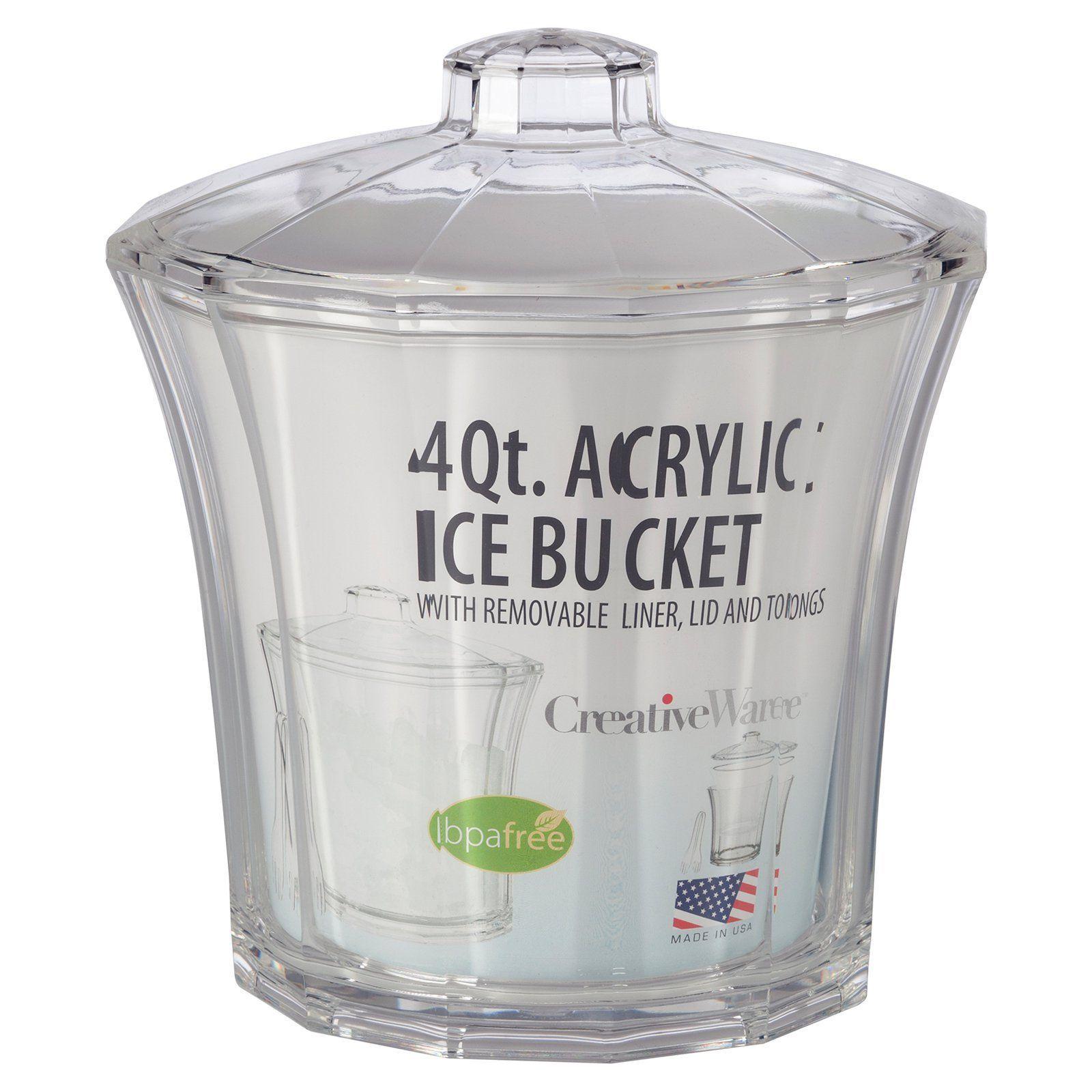 Creative ware insulated acrylic ice bucket and tongs ice