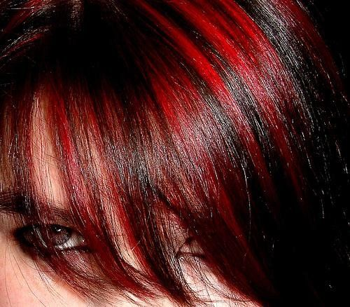 Harrison Buzz Short Black Hair Red Highlights Hair Color For Black Hair Black Red Hair Black Hair With Red Highlights
